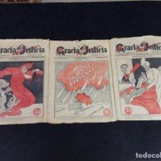 Libros antiguos: LOTE DE 3 REVISTAS GRACIA Y JUSTICIA REVISTA DE SÁTIRA POLÍTICA. 2ª REPÚBLICA AÑO 1936. Lote 211998233