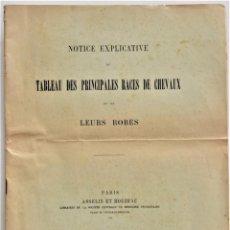Libros antiguos: TABLA DE LAS PRINCIPALES RAZAS DE CABALLOS - EN FRANCÉS - PARIS, ASSELIN ET HOUZEAU 1903 - DIFÍCIL. Lote 214085277