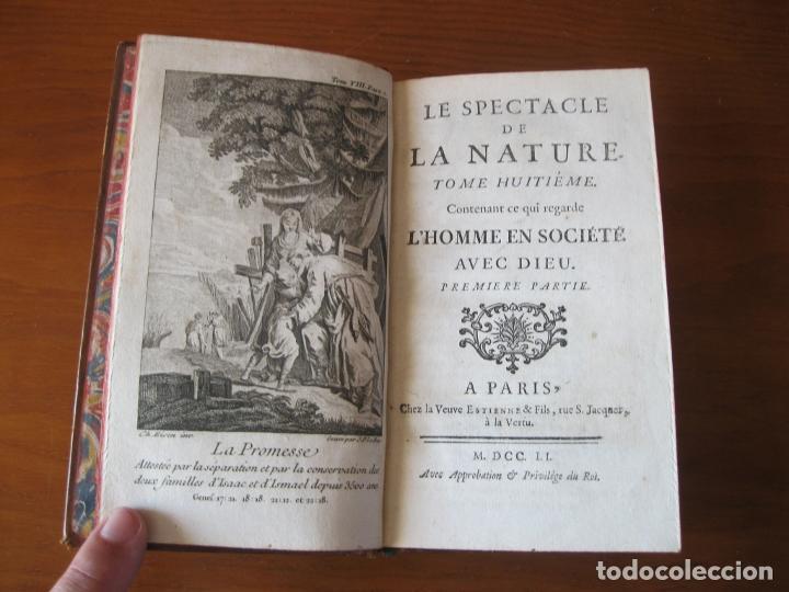 Libros antiguos: Le spectacle de la Nature, 2 volúmenes, 1751. A. Pluche. Dos frontispicios - Foto 6 - 216867763