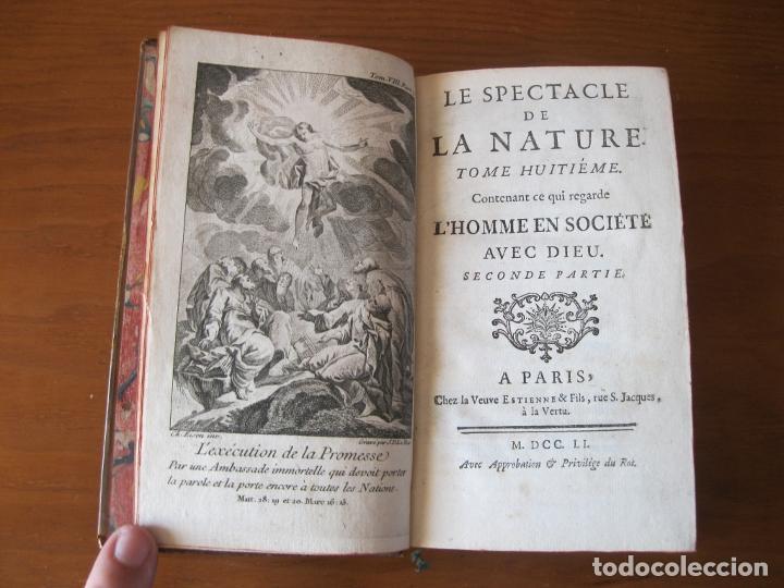 Libros antiguos: Le spectacle de la Nature, 2 volúmenes, 1751. A. Pluche. Dos frontispicios - Foto 12 - 216867763