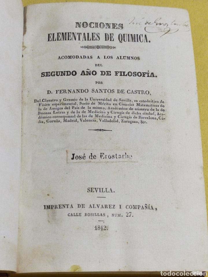 1842 NOCIONES ELEMENTALES DE QUIMICA 229 PAGINAS (Libros Antiguos, Raros y Curiosos - Ciencias, Manuales y Oficios - Física, Química y Matemáticas)