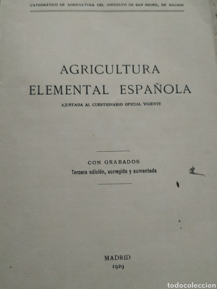 Libros antiguos: Agricultura elemental española, de 1929 - Foto 2 - 218717165