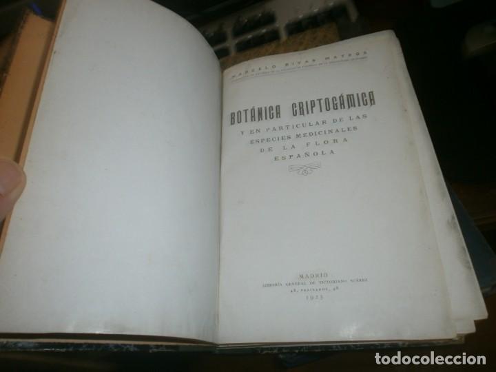 Libros antiguos: Botánica criptogámica y en particular de las especies medicinales de la flora Española 1925 . Rivas - Foto 2 - 219059107