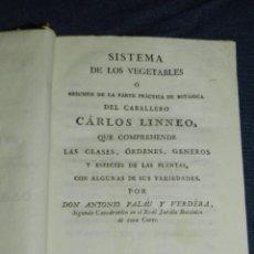 Libros antiguos: (MF) ANTONIO PLALAU Y VERDERA - SISTEMA DE LOS VEGETABLES O RESUMEN DE BOTÁNICA POR CARLOS LINNEO. Lote 221755051