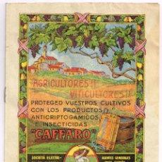 """Libros antiguos: AÑOS 20-30 PARA AGRICULTORES Y VITICULTORES PRODUCTOS """"CAFFARO"""" DE MILÁN PESTICIDAS, FITOSANITARIOS. Lote 221784572"""