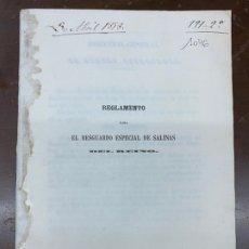 Libros antiguos: REGLAMENTO PARA EL RESGUARDO ESPECIAL DE SALINAS DEL REINO. 1858. GEOLOGÍA, SAL. RARO. Lote 221930332