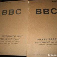 Libros antiguos: 2 BBC FILTRE - PRESSE AVEC COMMNADE PAR MOTEUR INSTRUCCIONES MONTAJE. FILTROS ACEITE. Lote 222270061