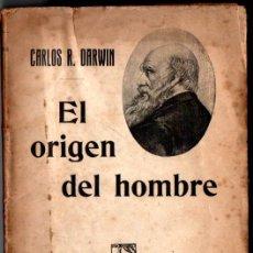 Libros antiguos: DARWIN : EL ORIGEN DEL HOMBRE (PROMETEO, S.F.). Lote 222375926