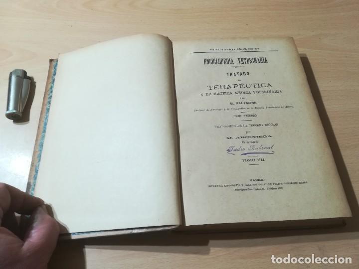 Libros antiguos: ENCICLOPEDIA VETERINARIA / TRATADO TERAPEUTICA KAUFMANN / T VII / G207 - Foto 5 - 226649075