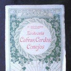 Libros antiguos: ZOOTECNIA, CABRAS, CERDOS, CONEJOS PABLO DIFFLOTH 1924 ENCICLOPEDIA AGRÍCOLA, SALVAT EDITORES. Lote 233191520