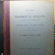 Livres anciens: ESTUDIOS REFERENTES AL TERREMOTO DE ANDALUCIA 1890-1893. Lote 236180320