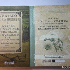 Libros antiguos: 2 LIBROS FACSÍMILES RELATIVOS A LA HUERTA Y LAS FLORES. CLAUDIO Y ESTEBAN BOUTELOU TRATADO DE 1801/4. Lote 263202845
