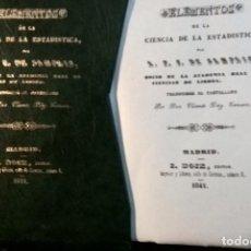Libros antiguos: FACSIMIL ELEMENTOS CIENCIA ESTADÍSTICA. SAMPAIO. LISBOA. 1841. Lote 239710365