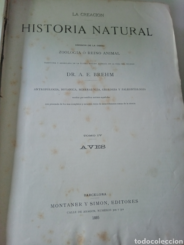 Libros antiguos: La Creacion Historia Natural 1880. Dr. A. E. Brehm. 7 volumenes . - Foto 15 - 240660865