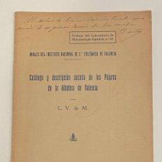 Libros antiguos: CATÁLOGO Y DESCRIPCIÓN SUCINTA DE LOS PÁJAROS DE LA ALBUFERA DE VALENCIA.. Lote 240852995
