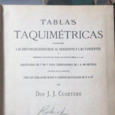 Libros antiguos: (TOPOGRAFIA) TABLAS TAQUIMÉTRICAS. LAS DISTANCIAS REDUCIDAS AK HORIZONTE Y A LAS TANGENTES. J. J. C. Lote 245294490