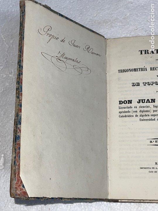Libros antiguos: Antiguo libro del tratado de trigonometría rectilínea y esférica del año 1854 una 3 edición - Foto 2 - 245412870
