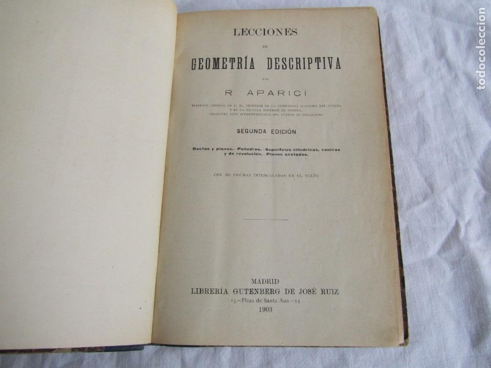 Libros antiguos: Lecciones de Geometría Descriptica, R. Aparici, 1903 - Foto 8 - 245454730