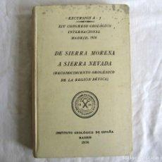 Libros antiguos: EXCURSIÓN DE SIERRA MORENA A SIERRA NEVADA, XIV CONGRESO GEOLÓGICO INTERNACIONAL 1926. Lote 245893685