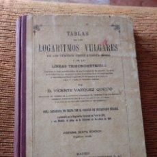 Libros antiguos: TABLAS DE LOS LOGARITMOS VULGARES Y DE LAS LÍNEAS TRIGONOMÉTRICAS VICENTE VÁZQUEZ QUEIPO. Lote 246249340
