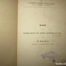 Libros antiguos: NOTE SUR LES TREMBLEMENTS DE TERRE RESSENTIS EN 1851 ALEXIS PERREY DIJON. Lote 247808280