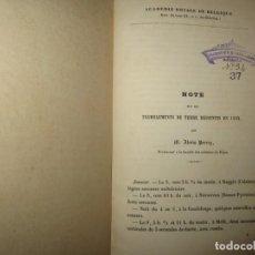 Libros antiguos: NOTE SUR LES TREMBLEMENTS DE TERRE RESSENTIS EN 1852 ALEXIS PERREY DIJON. Lote 247808445
