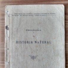 Livres anciens: INSTITUTO GENERAL Y TÉCNICO DE BAEZA ( JAÉN ) PROGRAMA DE HISTORIA NATURAL, 1911 - IMPRENTA ALHAMBRA. Lote 252653110