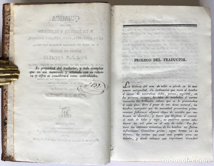 Libros antiguos: QUIMICA APLICADA A LA TINTURA Y BLANQUEO DE LA LANA, SEDA, LINO, CÁÑAMO Y ALGODON, Y AL ARTE DE IMPR - Foto 3 - 123260060