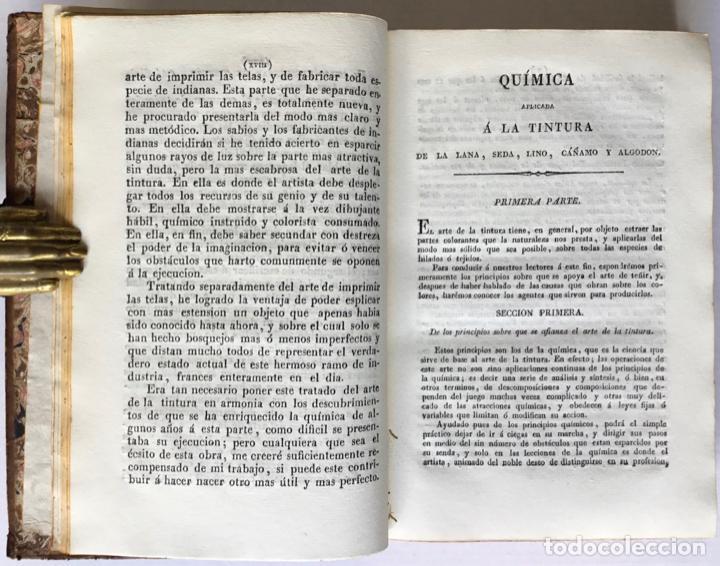 Libros antiguos: QUIMICA APLICADA A LA TINTURA Y BLANQUEO DE LA LANA, SEDA, LINO, CÁÑAMO Y ALGODON, Y AL ARTE DE IMPR - Foto 4 - 123260060
