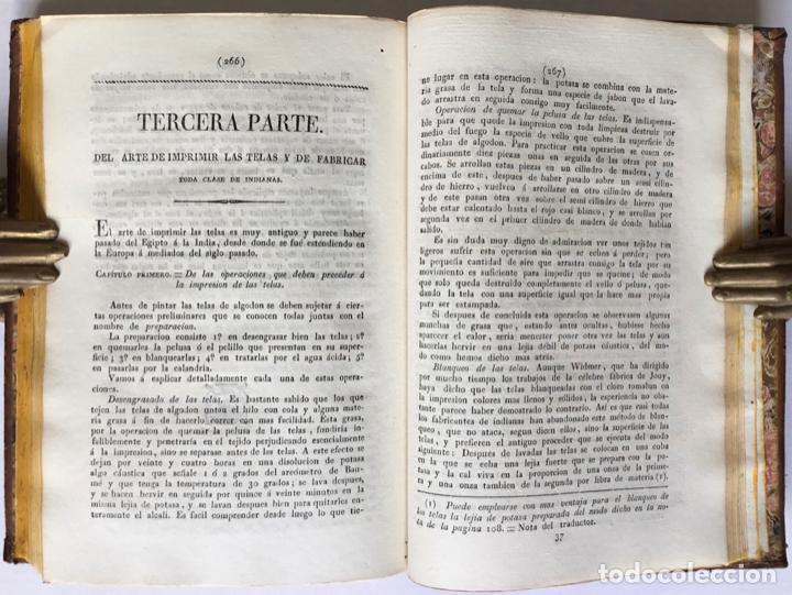 Libros antiguos: QUIMICA APLICADA A LA TINTURA Y BLANQUEO DE LA LANA, SEDA, LINO, CÁÑAMO Y ALGODON, Y AL ARTE DE IMPR - Foto 7 - 123260060