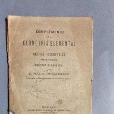 Libros antiguos: 1881 - GEOMETRIA ELEMENTAL - ZOEL GARCIA DE GALDEANO YANGUAS - FIRMADO. Lote 254541675