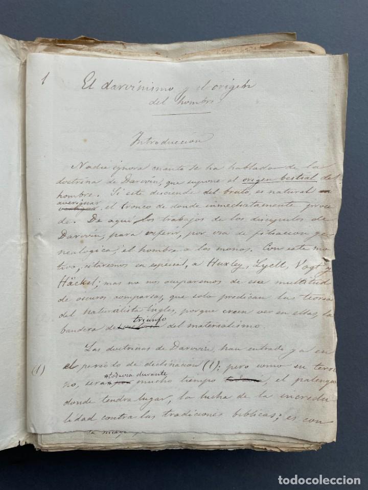 Libros antiguos: XIX - TRADUCCION MANUSCRITA AL ESPAÑOL DE EL ORIGEN DEL HOMBRE DE CHARLES DARWIN - - Foto 3 - 254757085