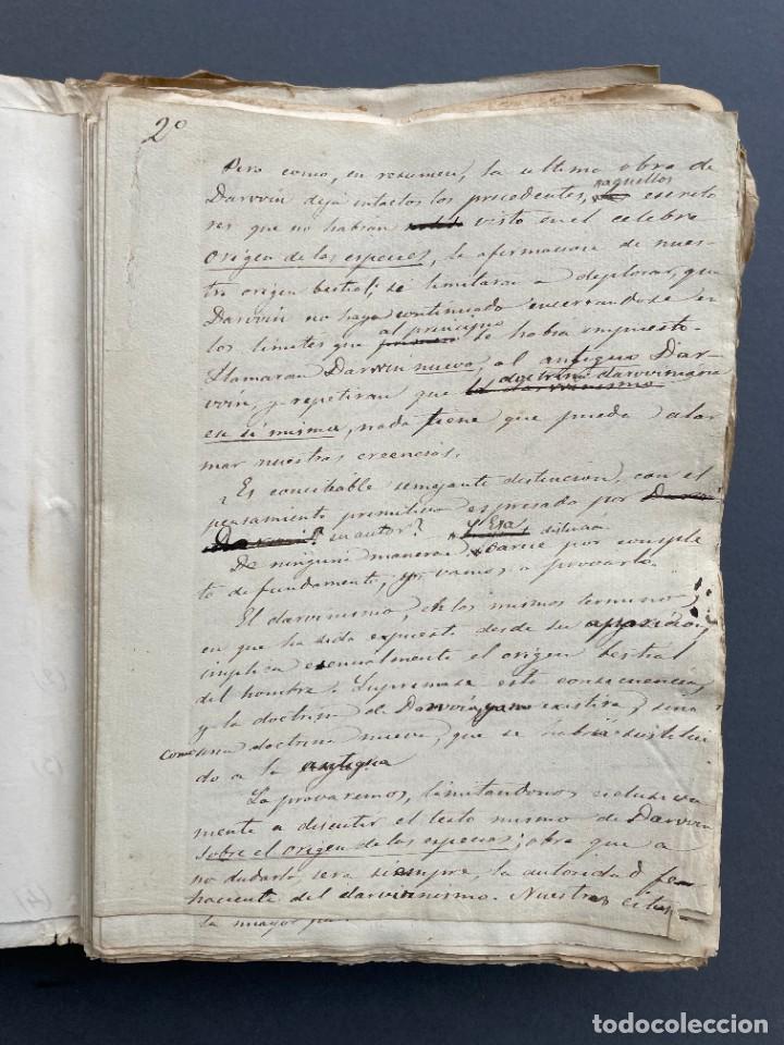 Libros antiguos: XIX - TRADUCCION MANUSCRITA AL ESPAÑOL DE EL ORIGEN DEL HOMBRE DE CHARLES DARWIN - - Foto 4 - 254757085