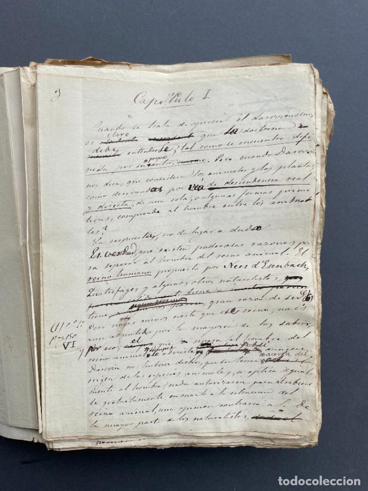Libros antiguos: XIX - TRADUCCION MANUSCRITA AL ESPAÑOL DE EL ORIGEN DEL HOMBRE DE CHARLES DARWIN - - Foto 5 - 254757085