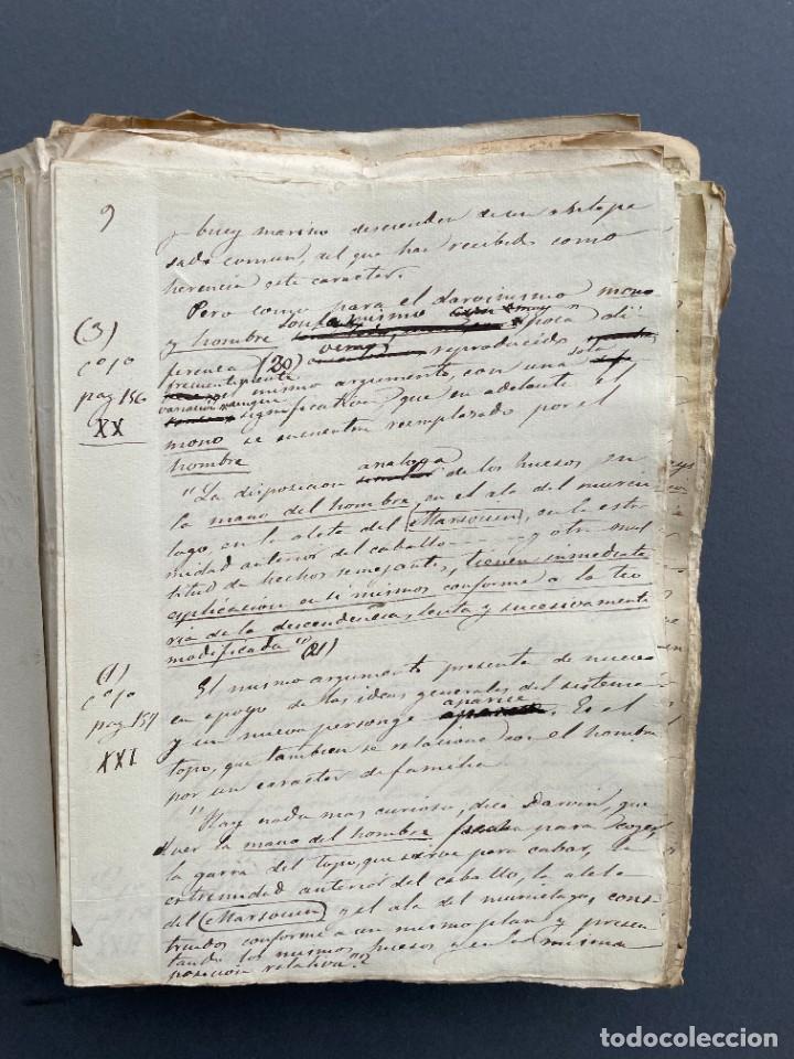 Libros antiguos: XIX - TRADUCCION MANUSCRITA AL ESPAÑOL DE EL ORIGEN DEL HOMBRE DE CHARLES DARWIN - - Foto 6 - 254757085