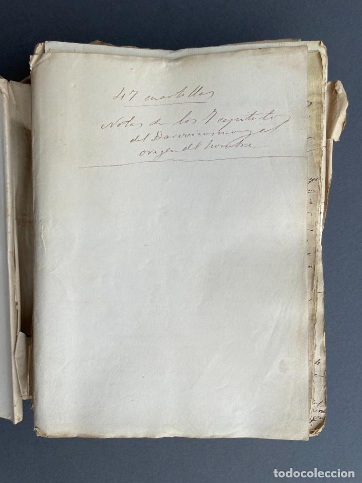 Libros antiguos: XIX - TRADUCCION MANUSCRITA AL ESPAÑOL DE EL ORIGEN DEL HOMBRE DE CHARLES DARWIN - - Foto 7 - 254757085