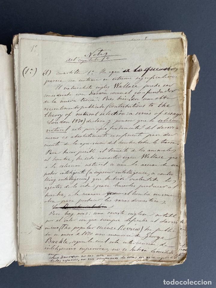 Libros antiguos: XIX - TRADUCCION MANUSCRITA AL ESPAÑOL DE EL ORIGEN DEL HOMBRE DE CHARLES DARWIN - - Foto 8 - 254757085
