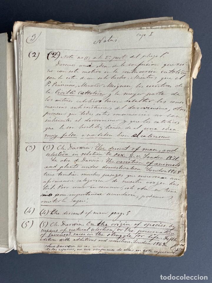 Libros antiguos: XIX - TRADUCCION MANUSCRITA AL ESPAÑOL DE EL ORIGEN DEL HOMBRE DE CHARLES DARWIN - - Foto 9 - 254757085
