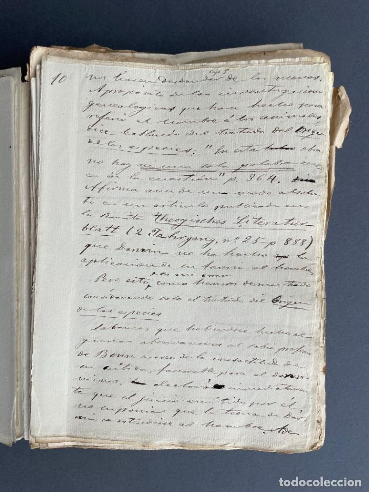 Libros antiguos: XIX - TRADUCCION MANUSCRITA AL ESPAÑOL DE EL ORIGEN DEL HOMBRE DE CHARLES DARWIN - - Foto 10 - 254757085