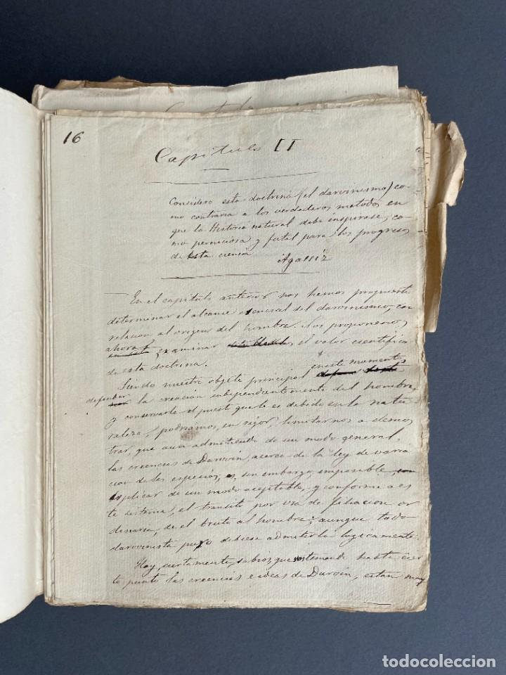 Libros antiguos: XIX - TRADUCCION MANUSCRITA AL ESPAÑOL DE EL ORIGEN DEL HOMBRE DE CHARLES DARWIN - - Foto 12 - 254757085