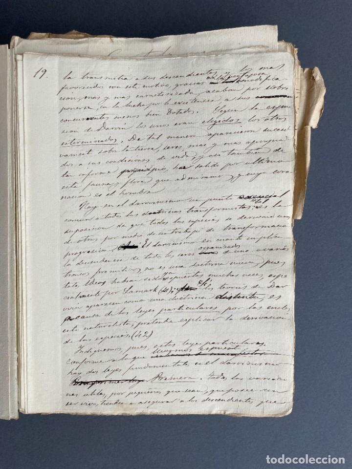 Libros antiguos: XIX - TRADUCCION MANUSCRITA AL ESPAÑOL DE EL ORIGEN DEL HOMBRE DE CHARLES DARWIN - - Foto 13 - 254757085