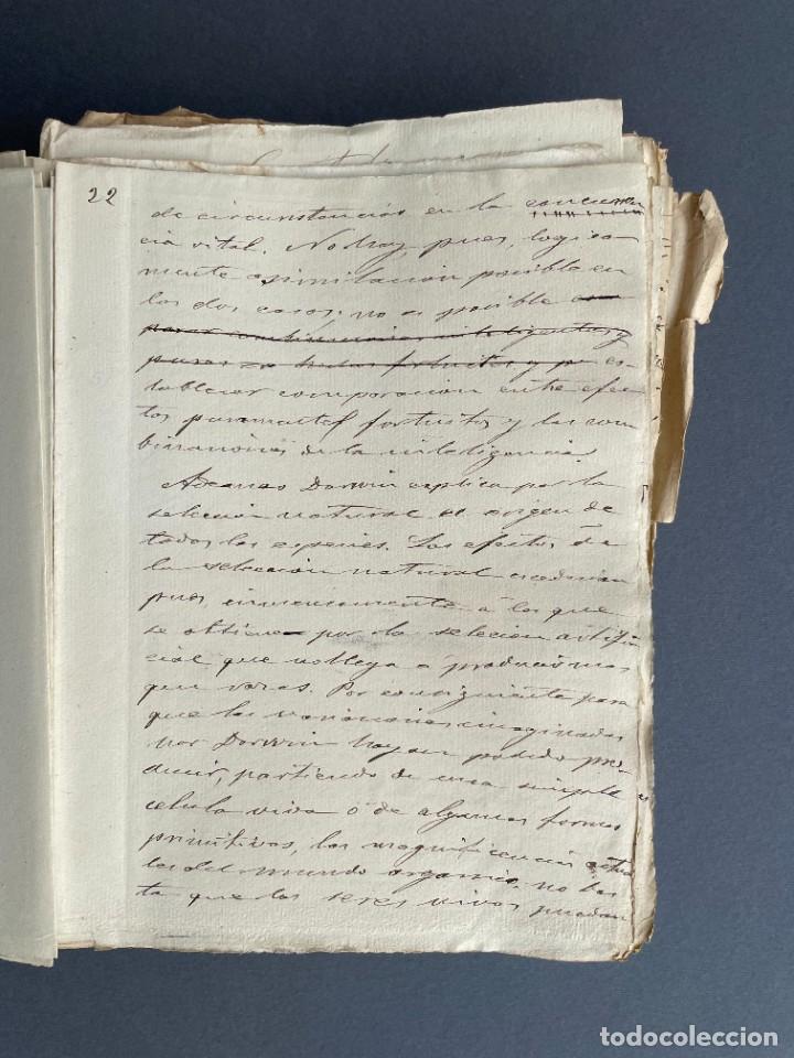 Libros antiguos: XIX - TRADUCCION MANUSCRITA AL ESPAÑOL DE EL ORIGEN DEL HOMBRE DE CHARLES DARWIN - - Foto 14 - 254757085