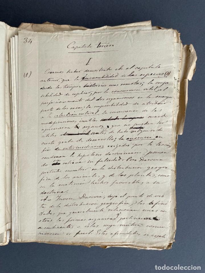 Libros antiguos: XIX - TRADUCCION MANUSCRITA AL ESPAÑOL DE EL ORIGEN DEL HOMBRE DE CHARLES DARWIN - - Foto 15 - 254757085