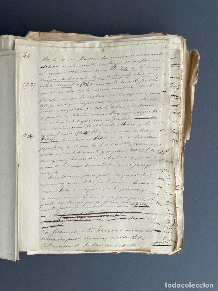 Libros antiguos: XIX - TRADUCCION MANUSCRITA AL ESPAÑOL DE EL ORIGEN DEL HOMBRE DE CHARLES DARWIN - - Foto 17 - 254757085
