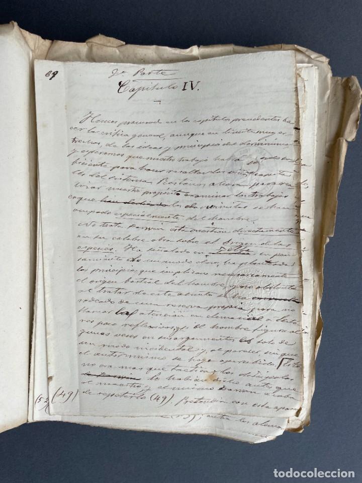 Libros antiguos: XIX - TRADUCCION MANUSCRITA AL ESPAÑOL DE EL ORIGEN DEL HOMBRE DE CHARLES DARWIN - - Foto 19 - 254757085