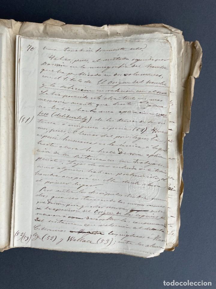 Libros antiguos: XIX - TRADUCCION MANUSCRITA AL ESPAÑOL DE EL ORIGEN DEL HOMBRE DE CHARLES DARWIN - - Foto 21 - 254757085