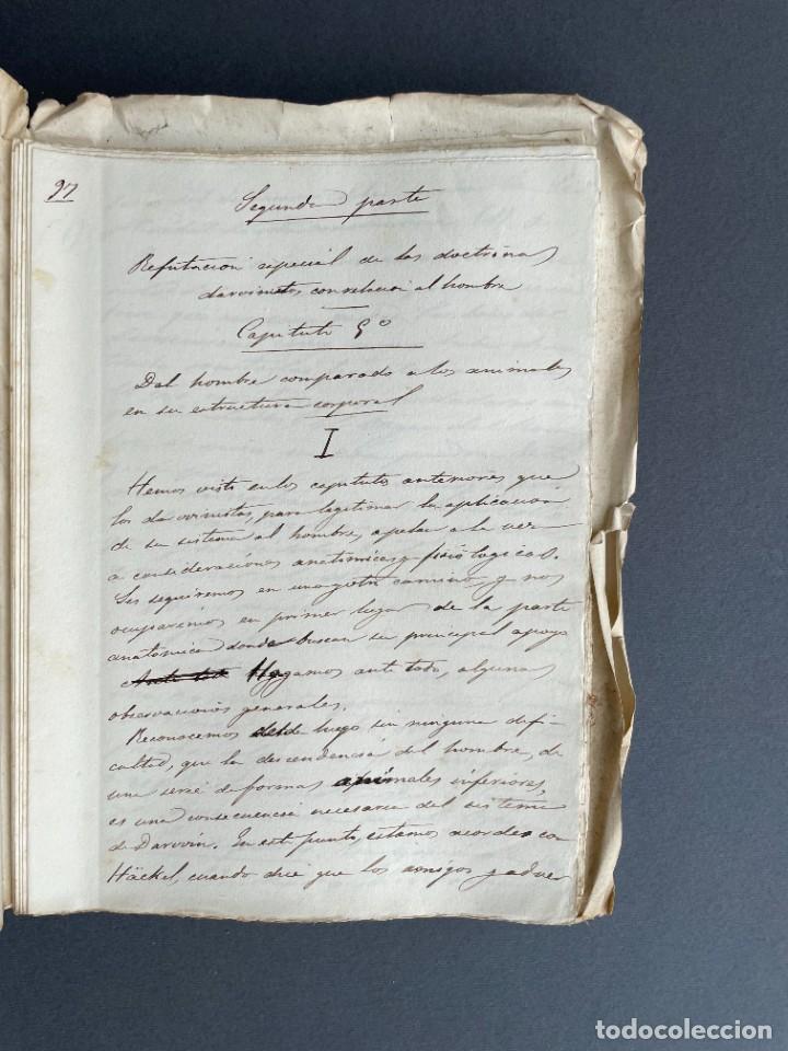 Libros antiguos: XIX - TRADUCCION MANUSCRITA AL ESPAÑOL DE EL ORIGEN DEL HOMBRE DE CHARLES DARWIN - - Foto 25 - 254757085