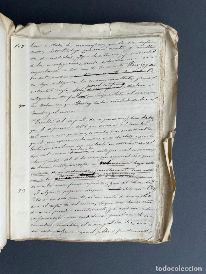 Libros antiguos: XIX - TRADUCCION MANUSCRITA AL ESPAÑOL DE EL ORIGEN DEL HOMBRE DE CHARLES DARWIN - - Foto 26 - 254757085