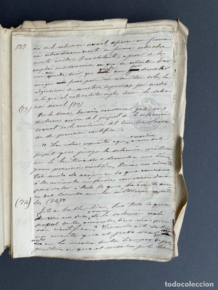 Libros antiguos: XIX - TRADUCCION MANUSCRITA AL ESPAÑOL DE EL ORIGEN DEL HOMBRE DE CHARLES DARWIN - - Foto 29 - 254757085
