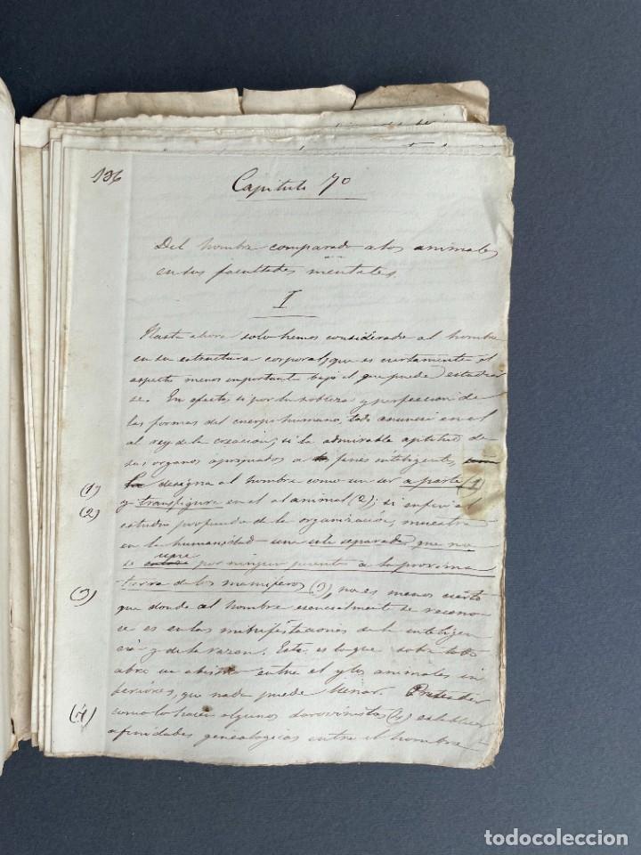 Libros antiguos: XIX - TRADUCCION MANUSCRITA AL ESPAÑOL DE EL ORIGEN DEL HOMBRE DE CHARLES DARWIN - - Foto 31 - 254757085